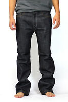 Raw No Wash Boot Cut Men's Solo Jeans Indigo Designer 30 32 34 36 38 40