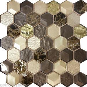Hexagon Emperador Marble Metallic Brown Gold Beige Glass Mosaic Tile - Mosaic-tile-backsplash-model