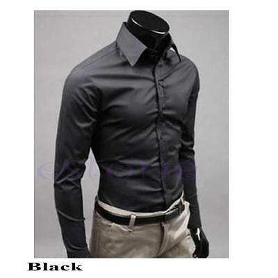 Mens Luxury Stylish Business Casual Dress Suits Slim Fit T-Shirts Long Sleeve