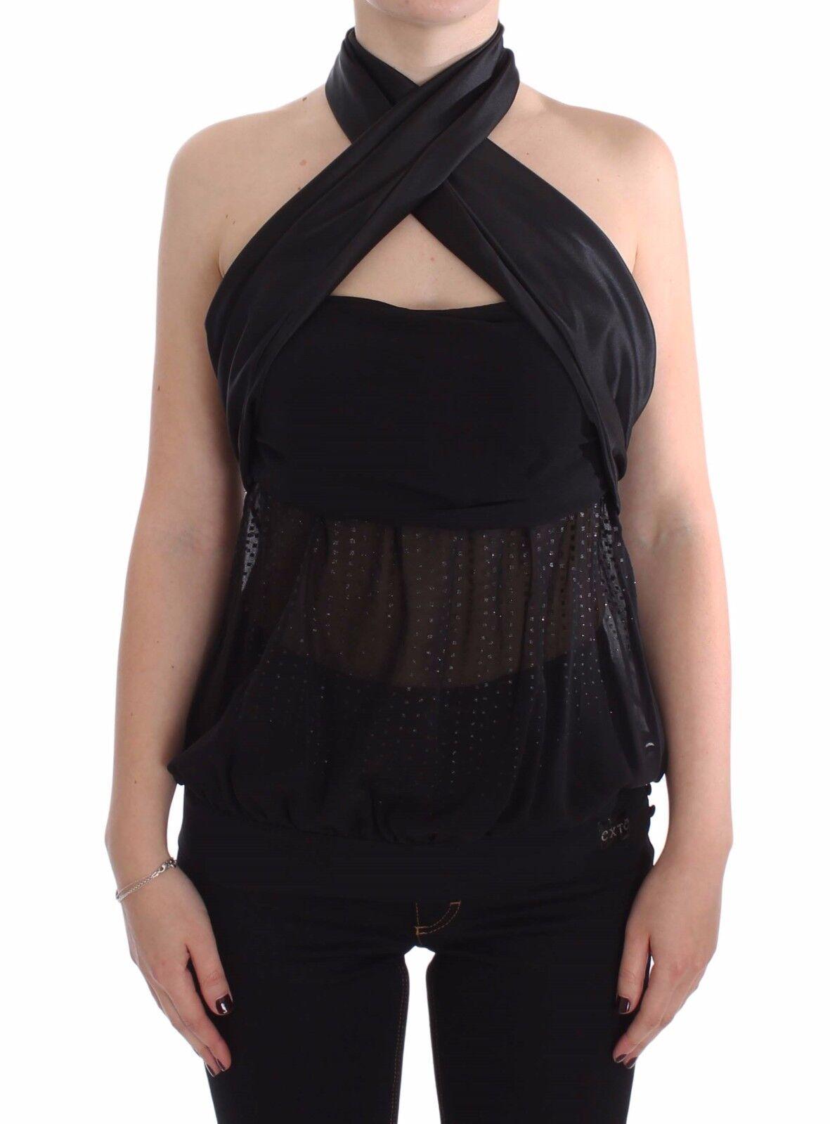 NEW  EXTE Top Blouse schwarz Neck Wrap Party Evening Shirt s. IT38   US XS