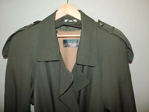 Ladies-Sanyo-Fashion-House-Classic-Green-Full-Length-Military-Trench-Coat-SZ-12