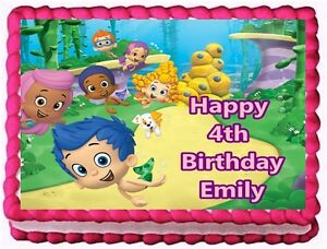 Details About Bubble Guppies Edible Cake Topper Birthday Decorations