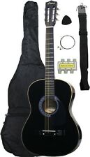 NEW Crescent beginner BLACK Acoustic Guitar+GIGBAG+STRAP+TUNER+LESSON