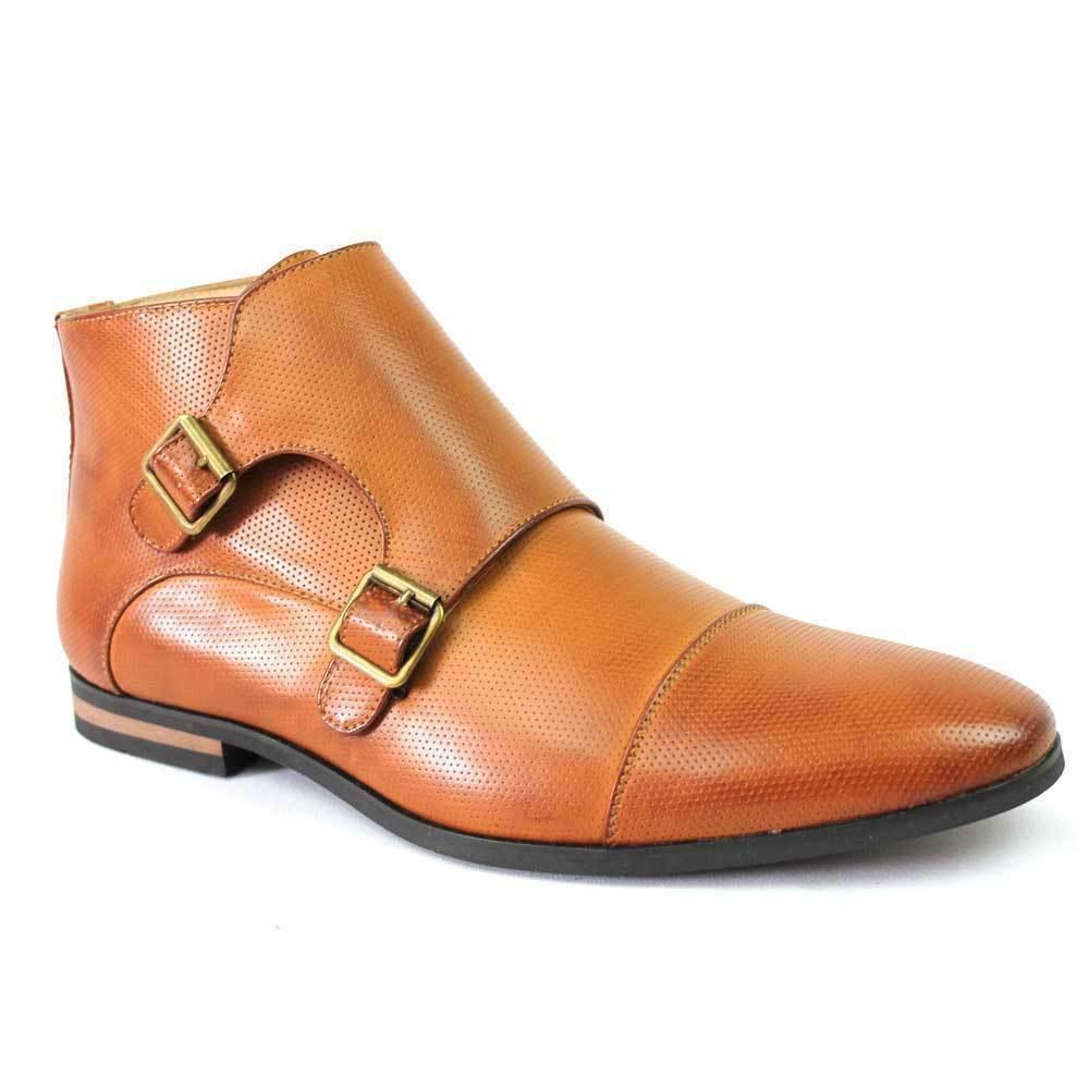 botas para hombre hecho a mano Puntera marrón con puntos Monje Correa Hebilla Doble Zapatos Formales