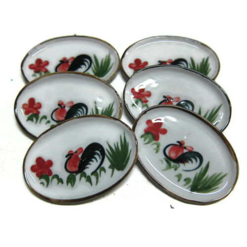 Set of 6 Cockerel Painted Ceramic Oval Plate Dollhouse Miniatures Kitchenware
