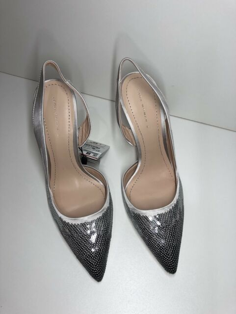 130d34ff1f9 ZARA SILVER SEQUINNED HIGH HEEL SLINGBACK SHOES SIZE UK 3 REF. 5800 201 RRP