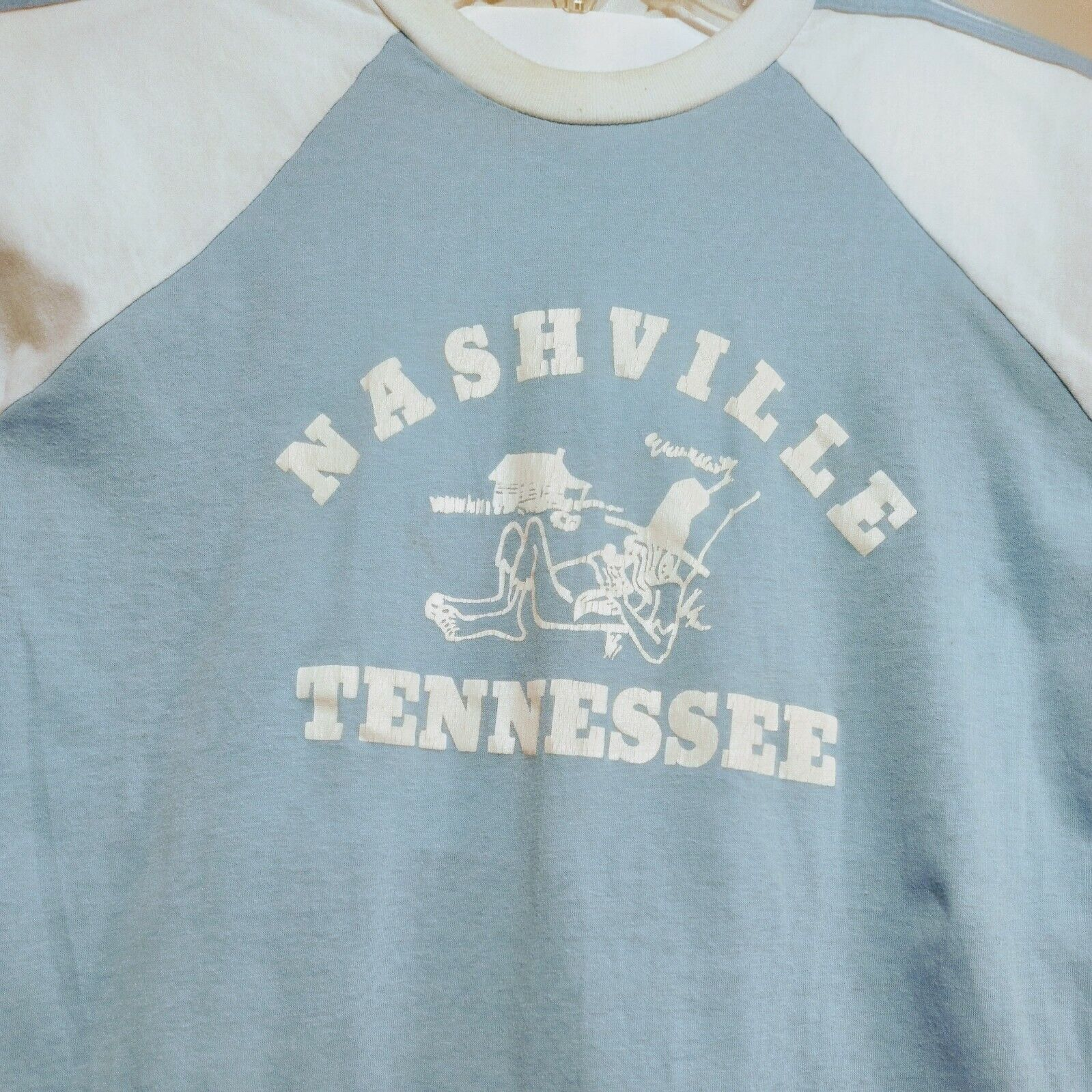 80s Nashville Jersey Knit 3 stripe Varsity Graphic Tshirt fits L VintageOldStock