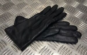 Genuine-Military-Issue-Officers-Black-Leather-Lined-3-Dart-Parade-Gloves-NEW