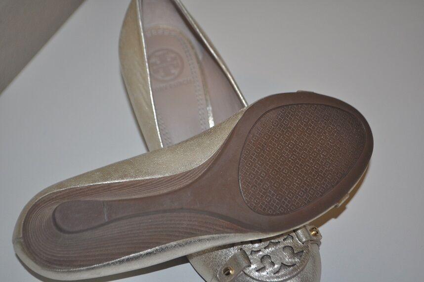 Tory Burch Mini Miller du LOGO LOGO LOGO en cuir compensées escarpins platine or métallique Sz 5 d6cee1