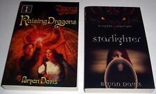 SIGNED!! Lot of (2) Books by BRYAN DAVIS: Raising Dragons & Starlighter