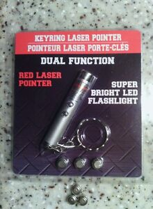 """2 in1 Keyring Laser Pointer With 3 NEW """"EXTRA"""" BATTERIES. Dog & Cat toy. NEW"""