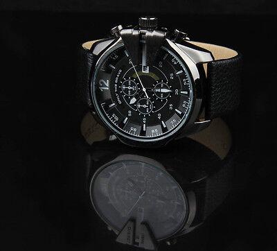 Black/White Men's Synthetic Leather Band Quartz Dial/Compass Wrist Watch