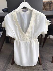 Magali-Pascal-Blouse-Cream-Silk-Lace-top-size-M