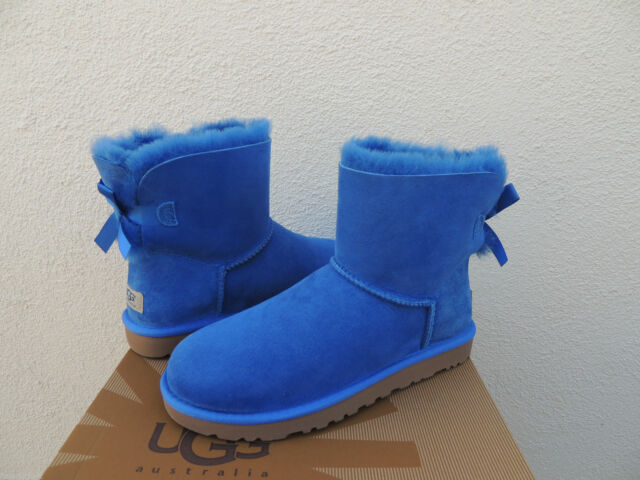 7558aae2fd6 UGG Women's Mini Bailey Bow Smooth Electric Blue Suede size 7 New With Box!