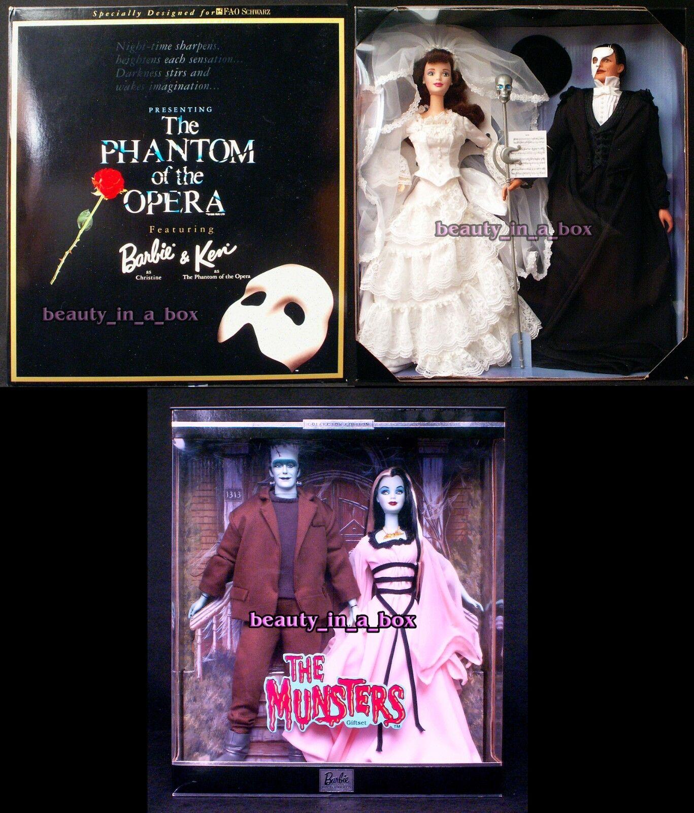 Muñeca Barbie Fantasma de la ópera Munsters Lily Herman Ken nunca quitado de la Caja Lote 2 halloweeng