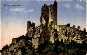 Ruine-Drachenfels-Koenigswinter-Color-Postkarte-1925-datiert-Partie-an-der-Burg