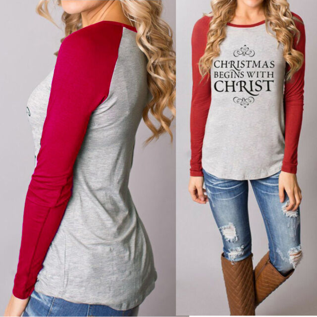 usa women christmas casual t shirts cotton long sleeve tops blouse plus size