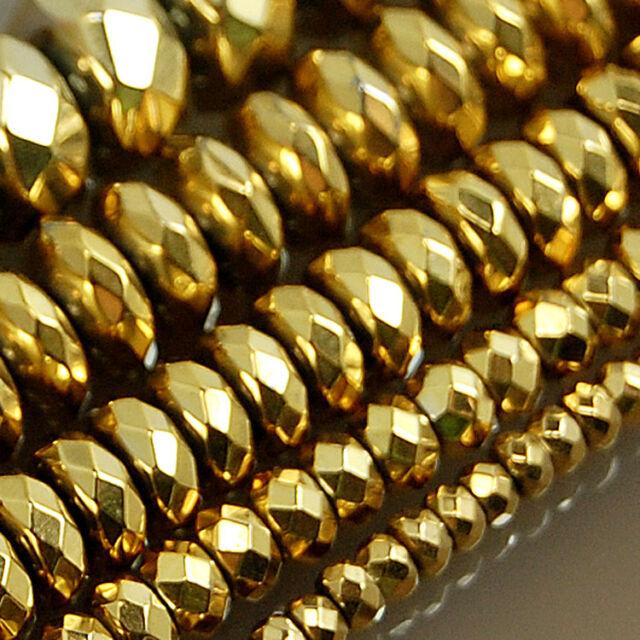 "Faceted Hematite Gemstone Rondelle Beads 16"" 3mm 4mm 6mm 8mm 10mm"