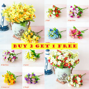 Artificial Flowers Plastic Daisy Outdoor Garden Bouquet Floral Decal Home Decor Ebay