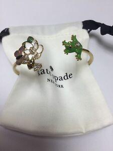 136b21b115a3d Details about Kate Spade New York Gold Frog & Flower Hinged Cuff Bracelet  W/ KS Dust Bag