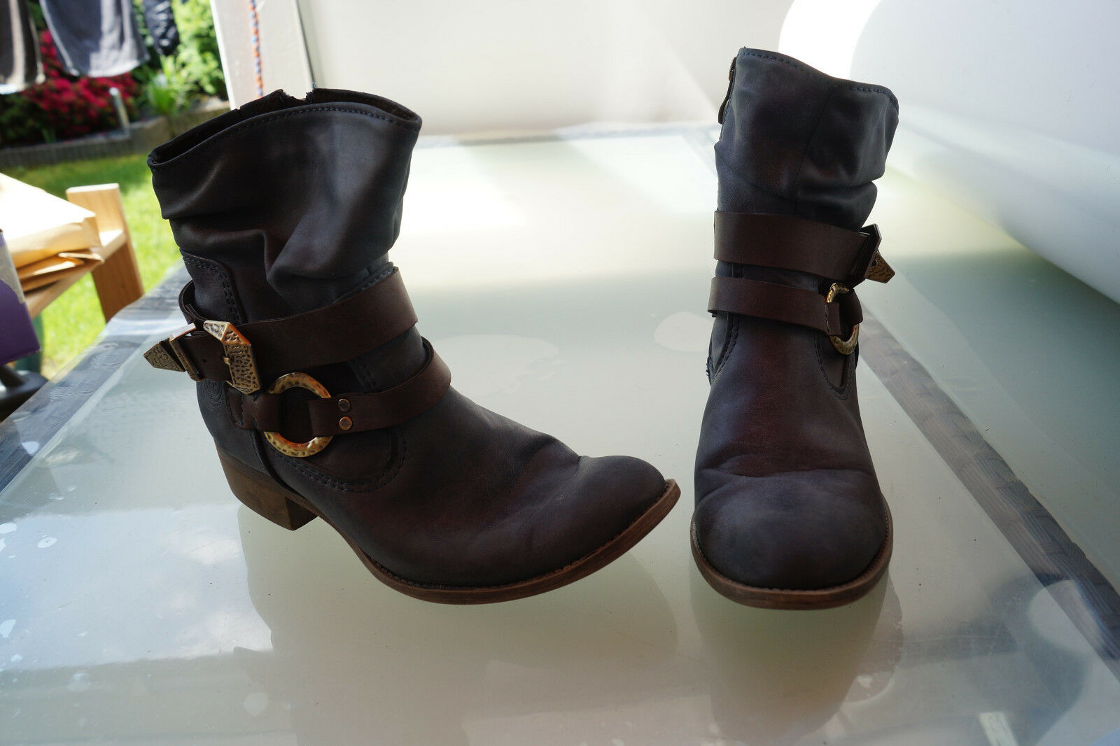 schicke MARCO TOZZI Damen Winter Schuhe Stiefel Boots Stiefeletten Gr.38 marine