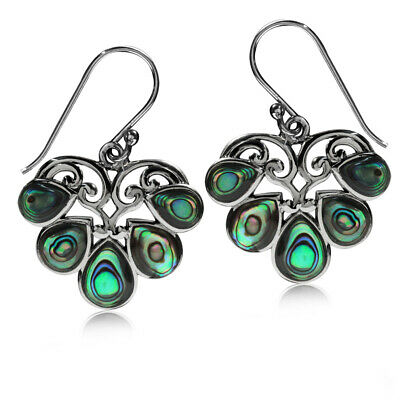 Dew Shape Abalone//Paua Shell Inlay 925 Sterling Silver Dangle Hook Earrings