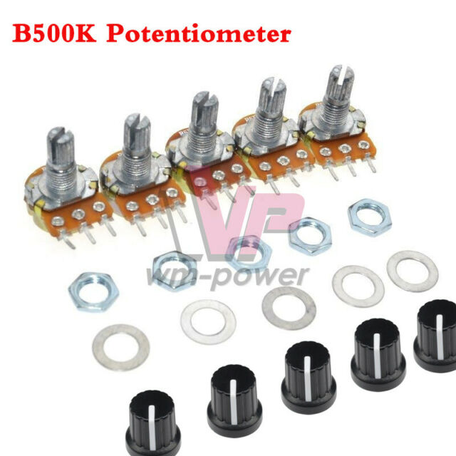 B500K 500K Ohm 3 Pins Potentiometer Knurled Shaft Linear Rotary Taper  with Cap
