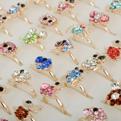 80//100Pcs Wholesale Mixed Rings Animal Child Kid Crystal Finger Ring Jewelry Lot