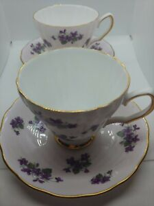 Colclough Bone China Cup & Saucer- Set of 2 Made in England Lilac Flowers Floral