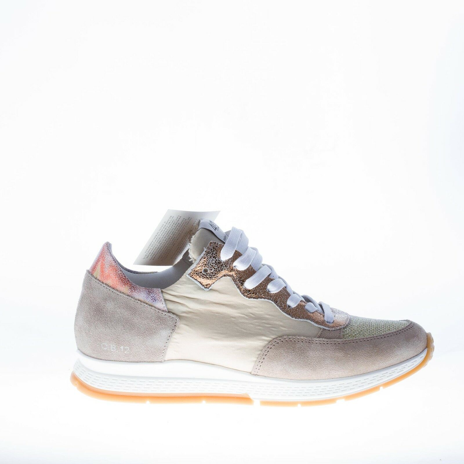 Quattrobarradodici womens women grey suede and natural fabric sneaker