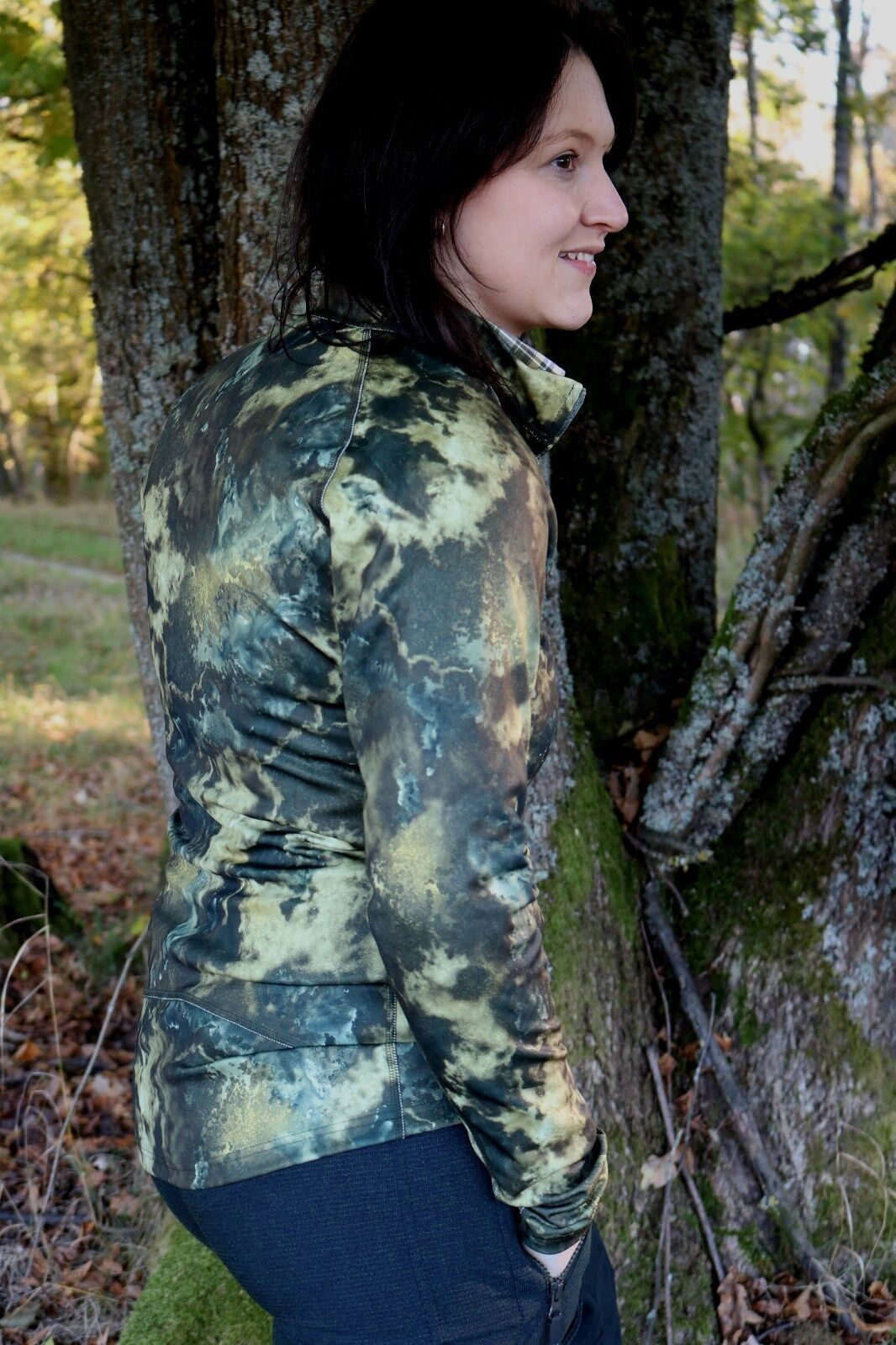 X-Jagd Second-Layer - Ladies Peigan - Woodland - with Stand up Collar