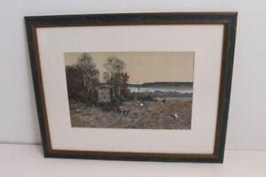 Watercolour-Mischtechnik-Eduard-Bright-Munich-Hunting-Motif-um-1900-Frame-Disc
