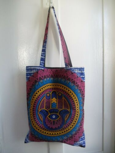 Hamsa Bag Fair Trade Indian Hand Fatima Mandala Tote Shopping Cotton Boho Gift