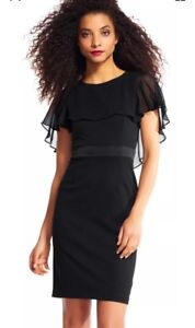 14655956d1da Details about Adrianna Papell Sheath Dress with sheer ruffle cape black  dress plus size 20W