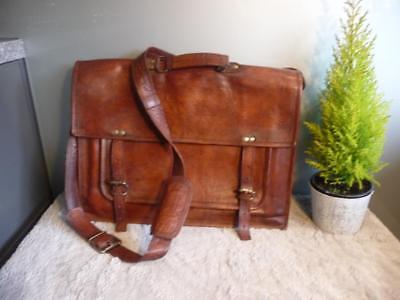 Preciso Lovely Vintage In Pelle Valigetta Borsa A Tracolla Borsa Per Laptop.-mostra Il Titolo Originale Buono Per L'Energia E La Milza