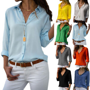 Women-Long-Sleeve-Blouse-Loose-Tops-Ladies-V-Neck-Casual-Office-Work-Shirt-OL