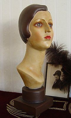 Bust of Woman Art Deco Classic 30er Years Woman's Head Mannequin Bust