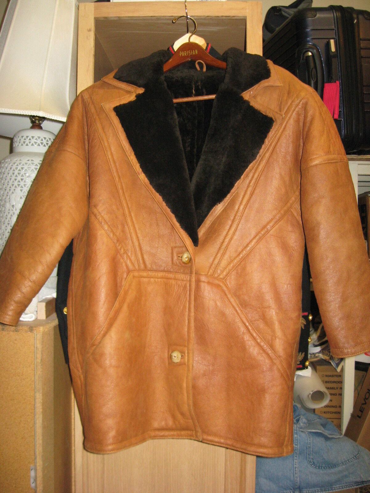 L @ @ K  Hermosos hechos en  EE. UU. mujer Shearling Abrigo de piel de oveja VF + tarde 1980s  connotación de lujo discreta