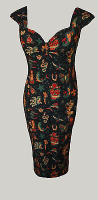 Noir Rouge Tatouage gypsy top rockabilly années 50 pin-up 8-20