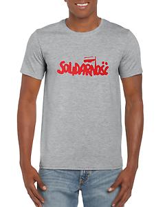 Logo shirt black white tshirt men/'s free shipping Protest Solidarnosc Poland