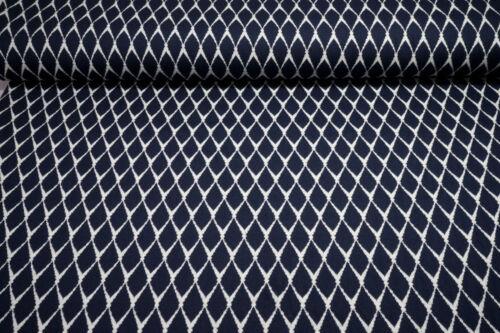 Jacquard Strick Lisa Ornamente dunkelblau wollweiß 0,5m