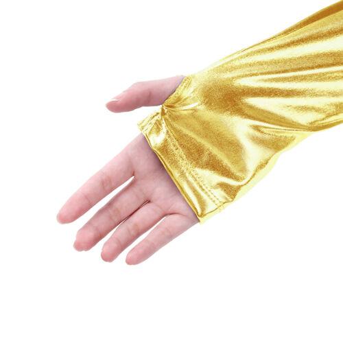 Womens Metallic Long Sleeves Shrug Bolero Tank Top Crop Top Cardigan Blouse Rave