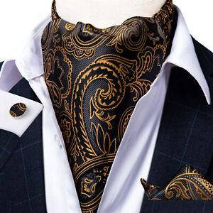 Mens Blue Grey Paisley  Ascot Cravat Silk Necktie Handkerchief Cufflinks Set