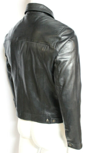 Mens Gents Black Trucker Fitted Classic Casual Retro Nappa Leather Shirt Jacket