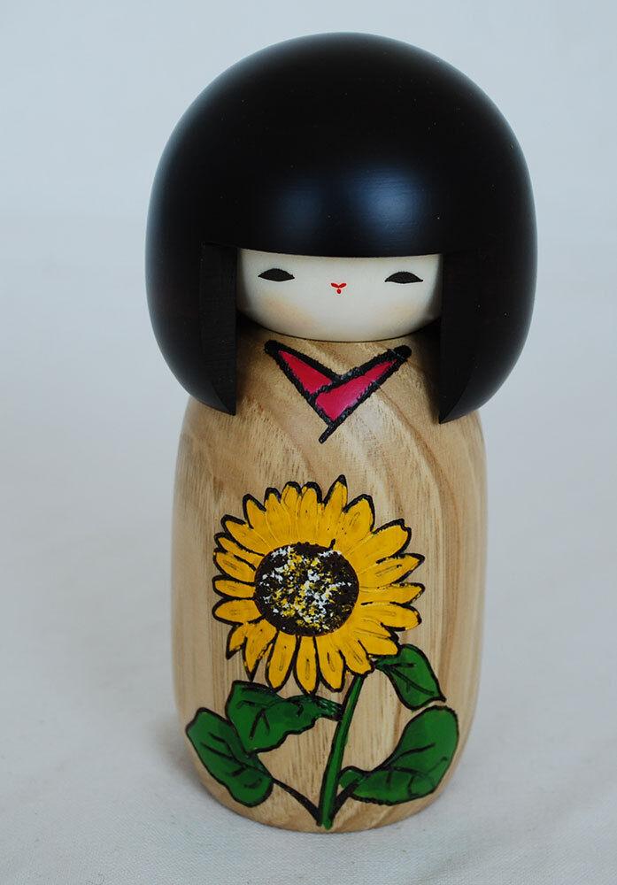 Japanese Kokeshi Doll - Handmade in Japan - Flower Tale - Sunflower