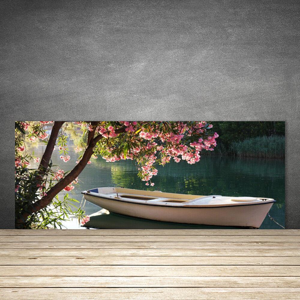 Crédence de cuisine en verre Panneau 125x50 Paysage Bateau Arbre