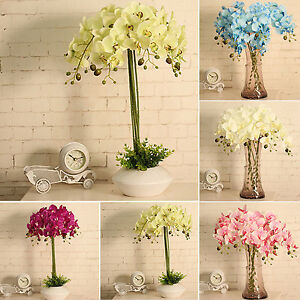 Image Is Loading N Artificial Silk Flower Decorative Butterfly Orchid Silk
