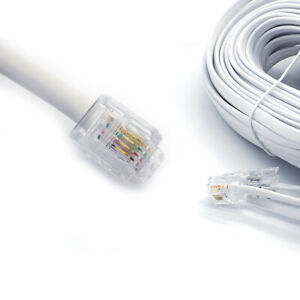 RJ11 To RJ11 Cable Lead 4 Pin ADSL Router Modem Phone WHITE Long