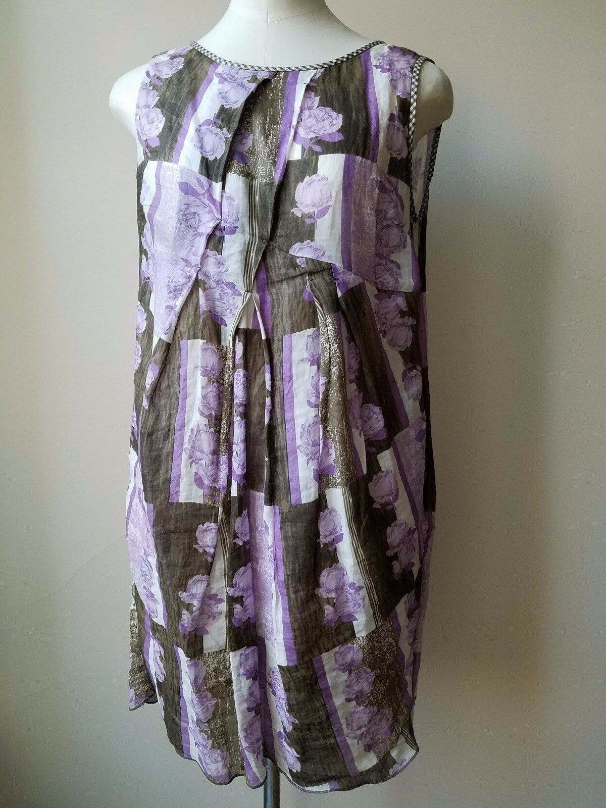 Sportmax 100% silk purple brown and white painted sleeveless dress US 12