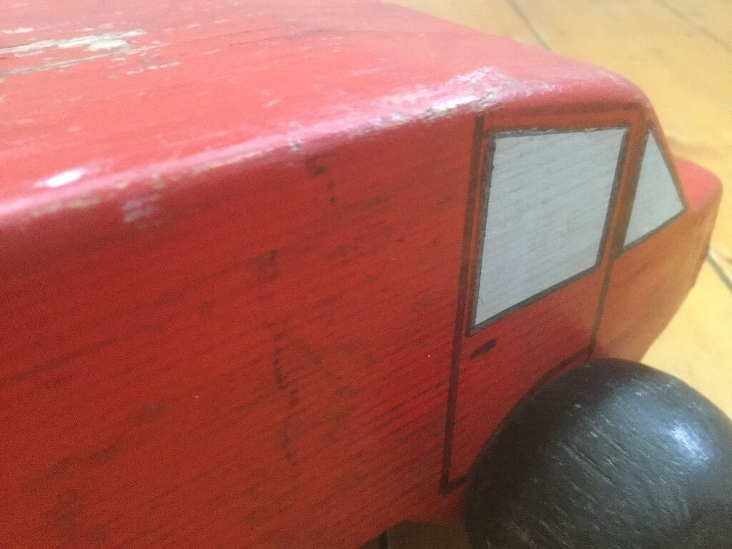 1950's Wooden Handmade Painted Toy Car Folk Art Prop Display Collectable